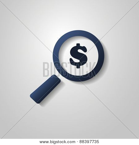 Business Analysis Symbol with Dollar Sign and Magnifying Glass Icon and pie chart.