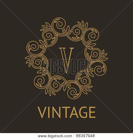 Simple and elegant monogram design template with letter V on dark background