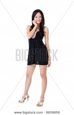 Attractive Asian Girl Posing And Smiling