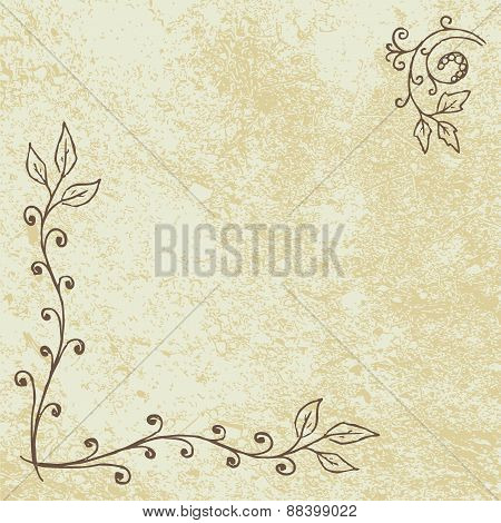 Grunge Floral Background With Empty Space