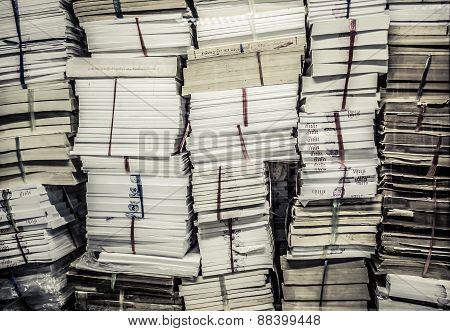 Stack Of Old Books And Documents In Grunge Retro Color