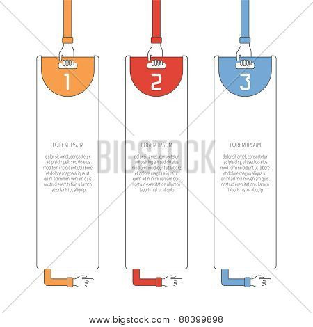 Abstract Vector 3 Steps Infographic Template In Flat Outline Style For Layout Workflow Scheme, Numbe