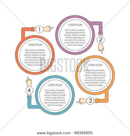 Abstract Vector 4 Steps Infographic Template In Flat Outline Style For Layout Workflow Scheme, Numbe