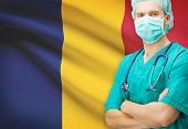 picture of chad  - Surgeon with national flag on background  - JPG
