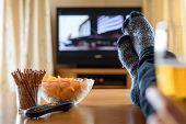 image of watching movie  - Television TV watching  - JPG