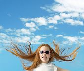 stock photo of big-girls  - Happy little girl with big sunglasses - JPG