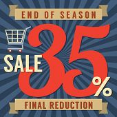 foto of year end sale  - Shopping Cart With 35 Percent End of Season Sale Illustration - JPG