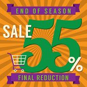 stock photo of year end sale  - Shopping Cart With 55 Percent End of Season Sale Illustration - JPG