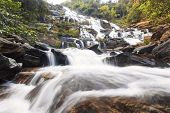 stock photo of rainforest  - Tropical waterfall in rainforest in the nature - JPG