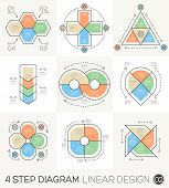 stock photo of diagram  - Circle Triangle Arrows set - JPG