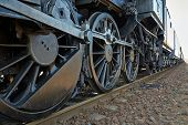 picture of locomotive  - Steam locomotive detail with cranks and wheels - JPG