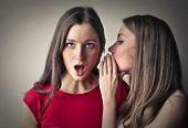 stock photo of sisters  - Sisters whispering secrets  - JPG