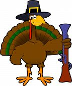 picture of wacky  - cartoon graphic depicting a comic thanksgiving day turkey - JPG