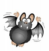 picture of vampire bat  - Halloween cartoon vampire bat isolated on white background - JPG
