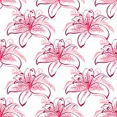 pic of stamen  - Vintage floral seamless pattern of pink and purple lilies with curved spotted blossoms and long stamens - JPG