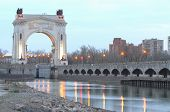 foto of lenin  - Arch to the pier first gateway of the Volga - JPG