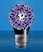 Постер, плакат: Light Bulb With Music Notes