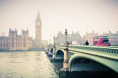 stock photo of westminster bridge  - Big Ben and westminster bridge at foogy morning in London - JPG