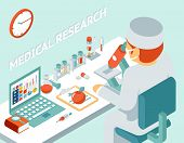 stock photo of isometric  - Medical research 3d isometric concept - JPG