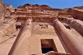 stock photo of petra jordan  - Urn tomb also know as Royal Tomb Petra Jordan - JPG