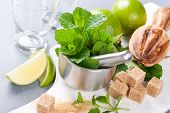 stock photo of pestle  - Metal mortar and pestle with fresh mint and ingredients for  mojito - JPG