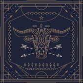 picture of bulls  - Vintage thin line bull label - JPG