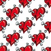 pic of nail-design  - Cartoon red hearts pierced by nails seamless pattern on white background for love or broken heart concept design - JPG