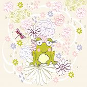 image of baby frog  - Stylish floral background with cartoon frog in light colors - JPG