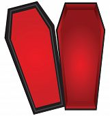 image of coffin  - Open coffin with a red cloth inside the lid is open - JPG
