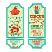 picture of circus clown  - Circus show advertising paper tickets set with clown and tent isolated vector illustration - JPG