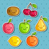 picture of kawaii  - Set of cute kawaii smiling fruits stickers - JPG