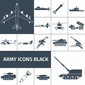 picture of helicopters  - Army weapon icons black set with jet fighter aircraft rifle helicopter isolated vector illustration - JPG