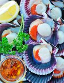 image of scallops  - scallops with oil and salt on the tray - JPG
