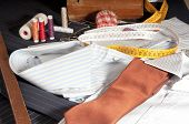 picture of tailoring  - view of a shirt custom made by a tailor in his shop - JPG