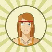 stock photo of single woman  - Single vector woman avatar in flat style - JPG