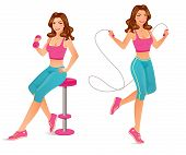 foto of jumping  - Beautiful fitness instructor is exercising with dumbbell and jumping rope - JPG