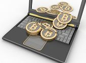 pic of bitcoin  - Bitcoins with laptop computer - JPG