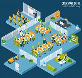 image of isometric  - Open space office with isometric business company interior and people vector illustration - JPG