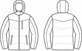 foto of down jacket  - Vector illustration of winter quilted down jacket - JPG