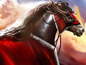 pic of battle  - Fantasy battle horse with red hood profile and hills nature background art illustration - JPG