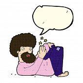stock photo of hippy  - cartoon hippie man with speech bubble - JPG