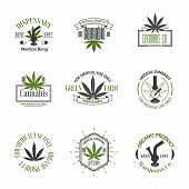 stock photo of marijuana leaf  - Set of medical marijuana logos - JPG
