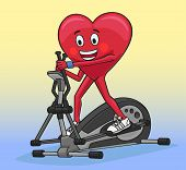 foto of elliptical  - Exercise on elliptical trainer is excellent strengthen the heart - JPG