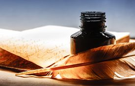 image of inkpot  - Old book with feather pen and inkpot - JPG