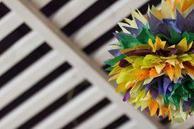 image of pom poms  - Colorful tissue paper pom poms in home design - JPG