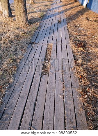 Wooden Walkway Made Of Planks