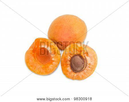 Two Ripe Apricot Closeup On A Light Background