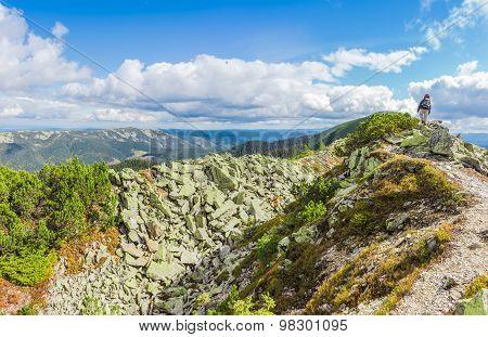 Mountain Autumn Landscape With Single Tourist On The Ridge