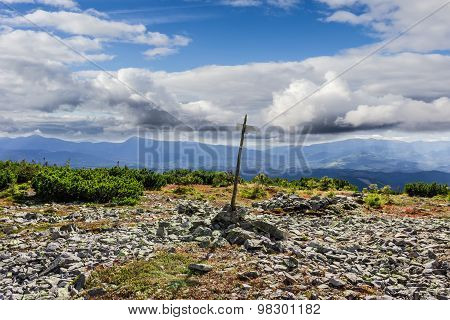Mountain Autumn Landscape With Direction Indicator Tourist Trail