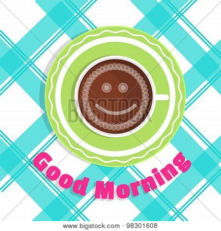 Vector Card Good Morning. A Cup Of Coffee On The Table - Top View